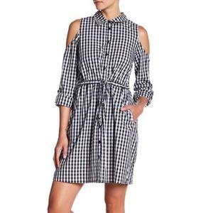 Design history plaid gingham cold shoulder dress